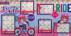 HOW-WE-ROLL-BICYCLE-GIRL-2-premade-scrapbook-pages-paper-piecing-layout-CHERRY