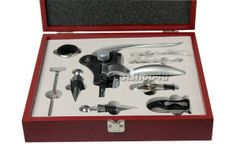 9 Piece Rabbit Corkscrew Wine Bottle Opener Set in Handsome Mahogany Box | See more about wine bottles, bottle openers and rabbits.