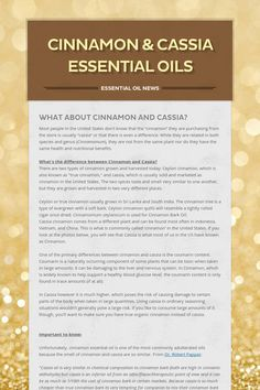 Cinnamon & Cassia Essential Oils - Essential Oil News by Pamela Swamy Cassia Essential Oil, Essential Oils For Pain, Essential Oil Diffuser Blends, Essential Oil Uses, Doterra Essential Oils, Oils For Life, Oil News, Natural Medicine, Natural Products