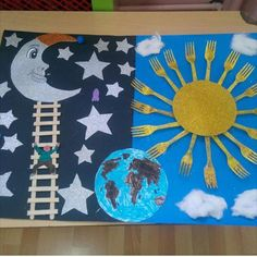 Day and night bulletin board idea for kids | Crafts and Worksheets for Preschool,Toddler and Kindergarten