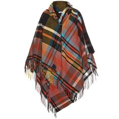 Vivienne Westwood Anglomania Tartan poncho (2,410 CNY) ❤ liked on Polyvore featuring outerwear, poncho, cape, jackets, orange multi, cape coat, cape poncho, plaid poncho cape, poncho cape coat and poncho cape