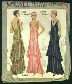 1930-McCall-Pattern-Ladies-Stunning-Tiered-Evening-Gown