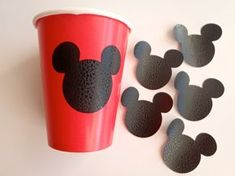 12 Vinyl Cup Stickers Mickey Mouse Theme by FeistyFarmersWife Fiesta Mickey Mouse, Mickey Mouse Bday, Mickey Mouse Clubhouse Birthday, Mickey Mouse Parties, Mickey Party, Mickey Mouse Birthday, Mickey Minnie Mouse, Elmo Party, Dinosaur Party