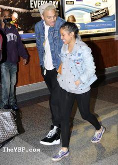 They look cute int thier jean jackets! ~Chris Brown & Karrueche Tran