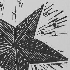 #Christmas shooting #star #linoprint _ etsy @hairypearpress