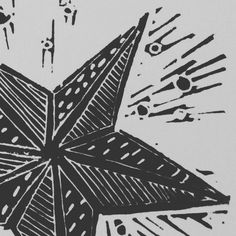 #Christmas shooting #star #linoprint _ etsy @hairypearpress