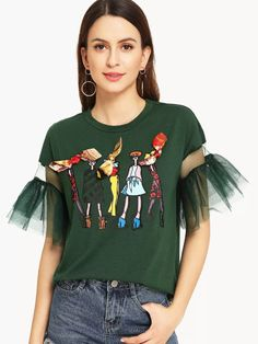 Preppy Cartoon Regular Fit Round Neck Half Sleeve Flounce Sleeve Pullovers Green Regular Length Lace Contrast Bow Cartoon Print Tee - Best Sewing Tips Fashion Details, Diy Fashion, Love Fashion, Ideias Fashion, Fashion Outfits, Fashion Design, Vetement Fashion, Latest T Shirt, Clothes Crafts