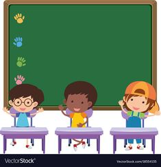 Board and children in classroom vector image on VectorStock Cartoon Drawing For Kids, Cartoon Kids, School Chalkboard Art, School Binder Covers, Physical Activities For Kids, School Border, Student Cartoon, Book And Frame, School Coloring Pages
