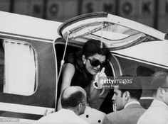 Jacqueline Onassis formerly Kennedy leaving an airplane to greet her children in Athens July 3rd 1969
