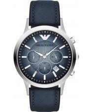 Mens Emporio Armani Mens Classic Chronograph Silver Blue Watch 181.00 Watches2U