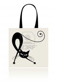 Chat noir gracieux, conception des sacs Banque d'images - 8014736