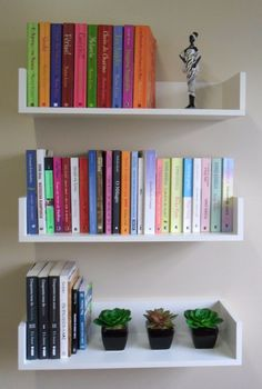 Like these shelves Bookshelves In Bedroom, Small Bookshelf, Creative Bookshelves, Book Shelves, Ideas For Bookshelves, Diy Bookshelf Wall, Minimalist Bookshelves, Ikea Wall Shelves, Bookshelf Decorating