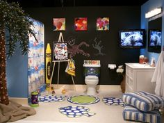 15 Fun Kids Bathroom Ideas - A cheerful bathroom decor can help to start the day right for your little one.
