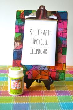 Kid Craft: Upcycled Clipboard -- easy craft project kids can make for a useful Mother's/Father's Day or teacher appreciation gift.
