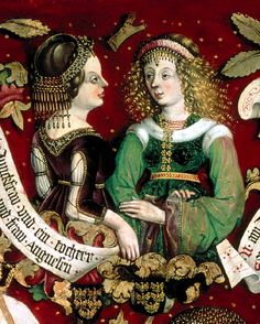 The Babenberger Genealogie  This panel painting, dated 1489-1492s, shows the female genealogie of the Babenberger family More gefrens with gold flitter and beads