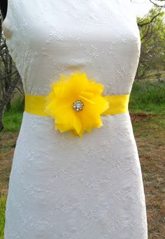Canary Yellow Sash Belt Wedding by CherryBlosomBoutique on Etsy, $28.95