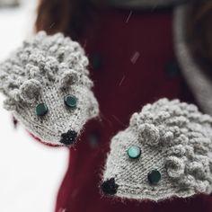 Knited Hedgehog Mittens. Curly Cozy Grey or Custom by NatalieKnit