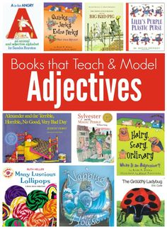 Books with Adjectives. Some of them are teaching books that explain adjectives and how you use them and others are books that have a good number of adjectives in them. Teaching Grammar, Teaching Language Arts, Teaching Writing, Speech And Language, Teaching Ideas, Teaching Resources, Grammar Games, Grammar Skills, Teaching Time