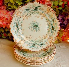 6 Antique 19c Worcester Copeland Porcelain Plates Cockatrice Flowers Gold #WorcesterCopeland