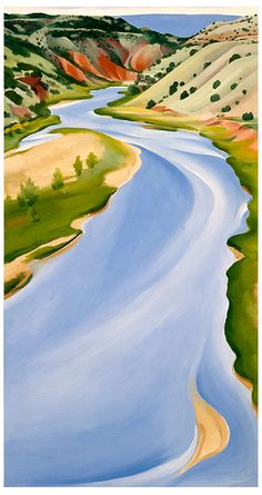 Georgia O'Keeffe, Chama River, Ghost Ranch, Oil on canvas; x 16 in. New Mexico Museum of Art; Gift of the Estate of Georgia O'Keeffe, 1987 © New Mexico Museum of Art Georgia O'keeffe, Georgia O Keeffe Paintings, Mexico Art, Land Of Enchantment, Wow Art, Fine Art, Oeuvre D'art, American Artists, Santa Fe