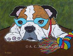 At The End Of My Rope, English Bulldog Art Print on Etsy, $25.00
