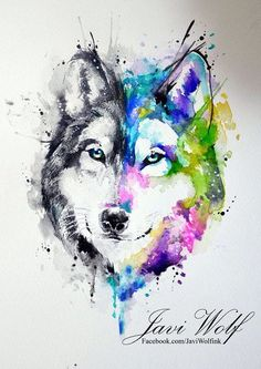 Watercolor wolf - other suggestion with Scottish flag behind it tatuajes Wolf Tattoo Back, Small Wolf Tattoo, Wolf Tattoo Sleeve, Wolf Tattoos, Celtic Tattoos, Animal Tattoos, Two Wolves Tattoo, Chest Tattoo, Sleeve Tattoos