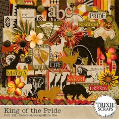 King of the Pride Digital Scrapbooking Full Kit Disney With beautiful, rich colors, tribal patterns and great animal silhouettes, take a trip to the African safari with this digital scrapbooking kit by Trixie Scraps Designs. King of the Pride is perfect for everything from zoo trips, to safari vacations... Animal Kingdom park photos, fans of Simba, The Lion King and so much more!