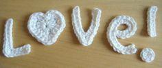 Free Crochet Pattern - LOVE Appliques