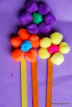 Pom Poms & Popsicle Sticks