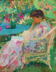 Reading in the Garden - Richard Emil Miller (1875-1943) American Impressionist Painter