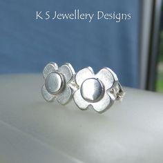 Brushed Rustic Flowers - Sterling Silver Stud Earrings - Metalwork Flower Studs £24.00