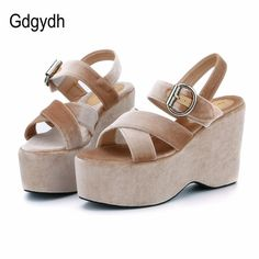 64343b0274 Gdgydh 2018 New Flock Summer Women Shoes Open Toe High Platform Wedges  Women Sandals Comfortable Ladies Shoes
