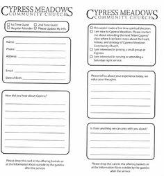 Connection Card | Church Visitor Ideas | Pinterest | Churches ... on church media training, church purchase order form, church work order forms,