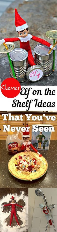 Clever Elf on the Shelf Ideas for the Holidays! Great ways to spice up your mischievous little Elf during your Christmas Holiday.