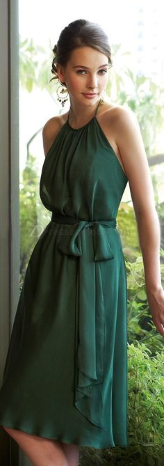 Hot Sale A-line Halter Knee-length Chiffon Green Bridesmaid Dresses Pretty Dresses, Beautiful Dresses, Gorgeous Dress, Emerald Dresses, Green Bridesmaid Dresses, Bridesmaids, Prom Dresses, Formal Dresses, Fashion Clothes