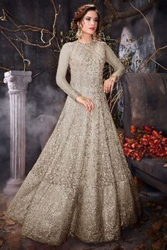 e11d06f357c Glorious Net Anarkali Gown In Battleship Grey Color With Resham Embroidered  - LSTV0031 robe femme de
