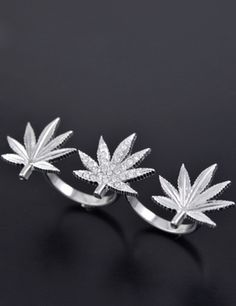 Three Weed Leaf Ring
