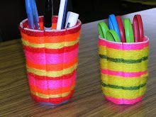 Plastic cup weaving