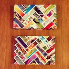 chevron wall art made out of magazine strips and shoe box lids!