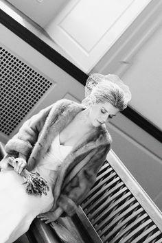 Jill's dress: Jenny Yoo. Black onyx engagement ring: found vintage, Dazzles Palm Springs, CA. Simple gold wedding band: family vintage. Fur coat: family vintage via Great Aunt Barbie. Brooch: found vintage. Purse: found vintage. Bouquet: simple lavender by Westborn Market. Wedding Fur, Gold Wedding, Wedding Bands, Dream Wedding, Wedding Ideas, Vintage Fur, Vintage Bridal, Brown Fur Coat, Fur Stole