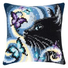 Vervaco® Cat with Butterfly Pillow Cover Needlepoint Kit