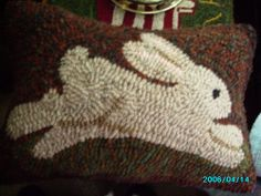 """Primitive Hand Hooked """"Hoppy""""Bunny Rabbit Pillow Finished, Rug hooking,13""""x 9"""""""