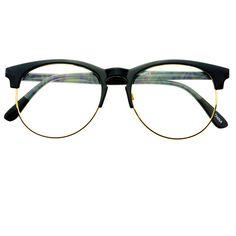 02cf9b3c22 Retro Style Keyhole Half Frame Round Eyeglasses Black Gold R1821 ( 9.95) ❤  liked on