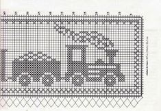 "Crochet: CHILDREN'S EYE OF CURTAIN ""TRAIN"" Crochet Curtain Pattern, Crochet Curtains, Tapestry Crochet, Intarsia Patterns, Dishcloth Knitting Patterns, Knitting Charts, Bobble Crochet, Crochet Baby Hats, Filet Crochet"