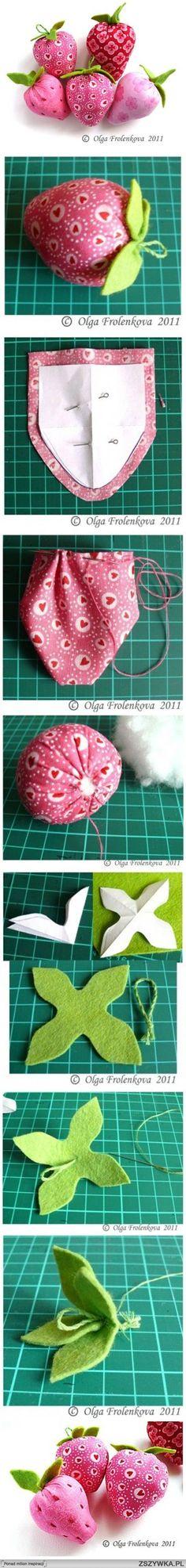 diy, sew, fabric, strawberry