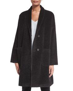 Alpaca-Blend Knee-Length Coat, Women's, Size: M (10/12), Black - Eileen Fisher