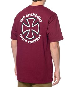 Get back to your skate roots with the clean and classic look of the Independent Classic Bauhaus t-shirt. It doesn't get much more iconic than the Independent Truck Company Bauhaus cross logo graphic on the left chest and back of this stylish burgundy shor