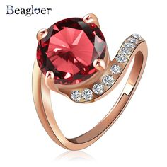 Beagloer Brand Personalited Imitated Ruby Ring Rose Gold Plated Genuine SWA Element Austrian Crystal Girls Rings Ri-HQ1023-A