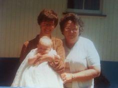 My mother Leigh Tyler Kens Mum Ev Brackin at Stacys christening 16-10-82