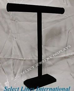 """Black Velvet Necklace T-Bar Jewelry Display Stand 18""""H $12"""